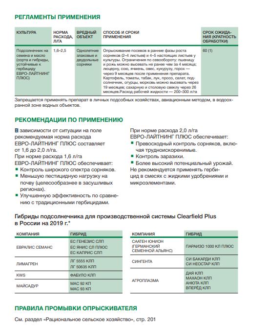 Гербіцид Євролайтинг Плюс застосування