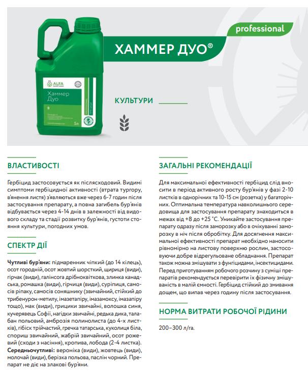 гербицид Хаммер Дуо описание