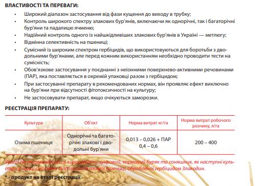 Гербицид Злакодин свойства